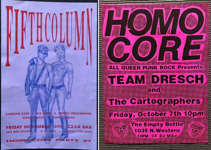 Steve LaFreniere's poster for Homocore's 1992 debut show (left) features a drawing by G.B. Jones of Fifth Column. The 1994 Team Dresch flyer (right) uses Homocore's distinctive lettering. - COURTESY MARK FREITAS