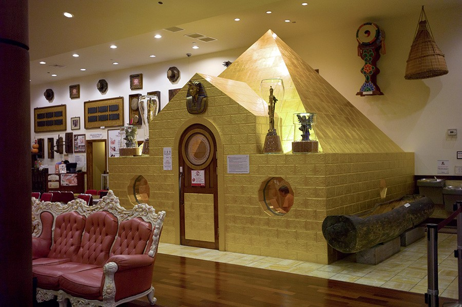 The gold-plated pyramid creates the sensation of being on the beach on a perfect summer day. - COURTESY KING SPA