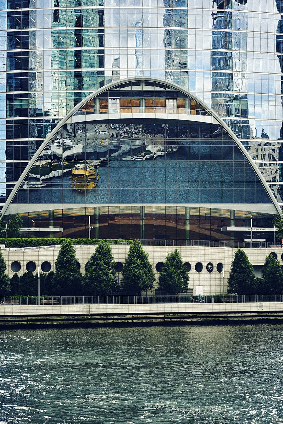 Reflection of the ship in the River Point building at 444 W. Lake. - MAX THOMSEN