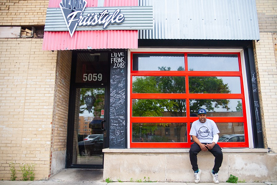 """Gilkey outside another of his enterprises, Friistyle, a Bronzeville restaurant that began as a series of pop-ups specializing in """"loaded"""" Belgian-style pommes frites - DAVON CLARK"""