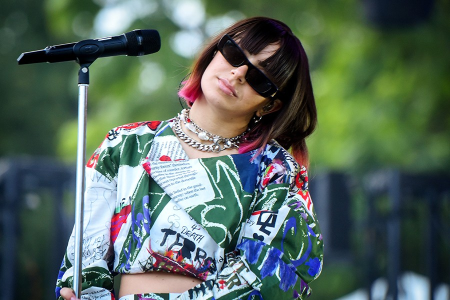 This is probably the best photo for trying to read what Charli's top says. - KATHLEEN HINKEL