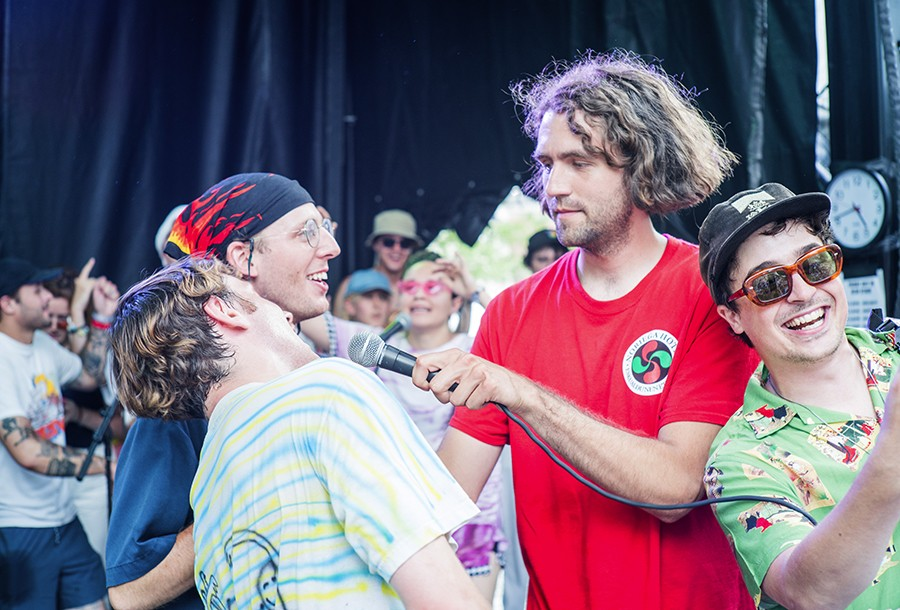 (Left to Right) Bailoni, Mike Miller, Jackson James and Knox Fortune sing during Grapetooth's closing song, Trouble. - TIM NAGLE