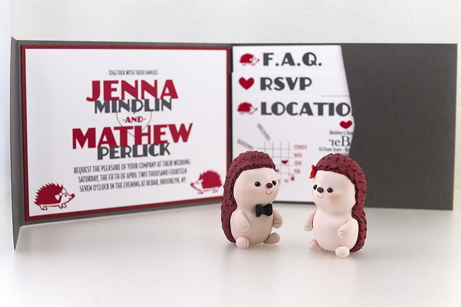 Jenna and Mathew got married in 2014 and had a DIY hedgehog-themed wedding complete with custom wedding toppers. - GONZALO GUZMAN