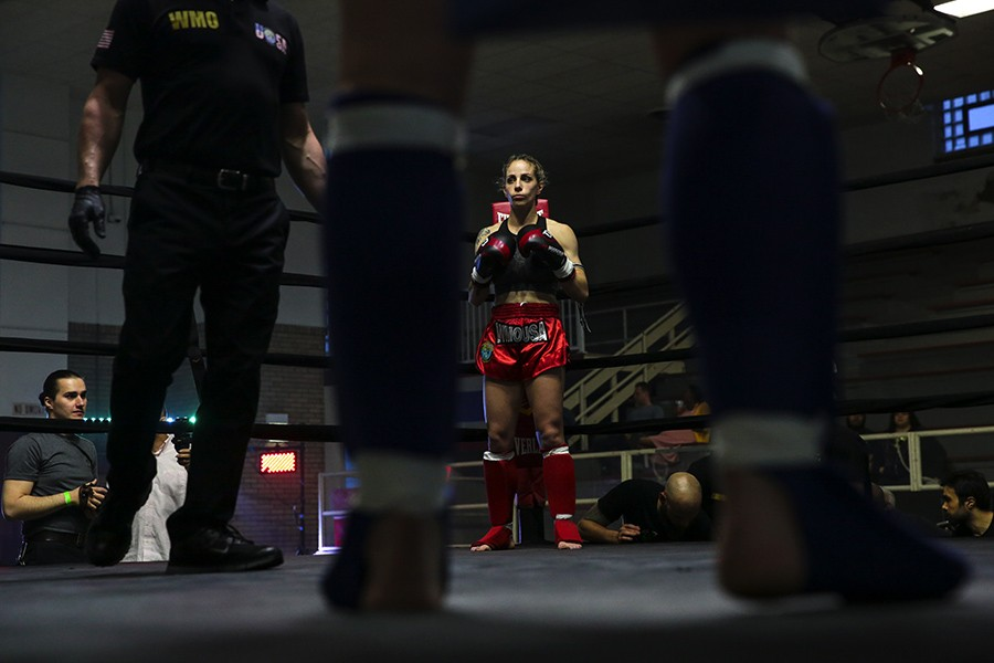Lisa Mucci of Viking Muay Thai prepares for the first round of her bout on the World Muay Thai Organization USA card on Sunday, June 2, 2019, at Cicero Stadium. - GEOFF STELLFOX