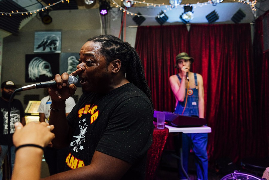 Strangers of Necessity at Open Beats: from left to right, the duo is Malcome Flex (aka Fooch the MC) and producer CoryaYo. - ALLISON ZIEMBA FOR CHICAGO READER