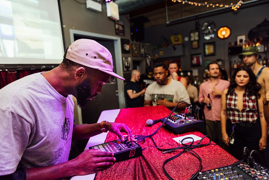 Sev Seveer performs with a Boss SP-303 sampler at Open Beats. - ALLISON ZIEMBA FOR CHICAGO READER
