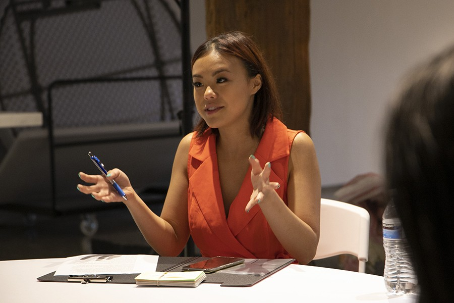 Ng gives contestants the plan for pageant night. - CAROLYN CHEN