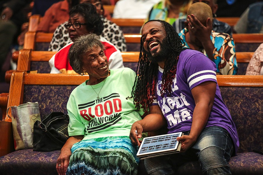 At Greater Harvest Baptist Church, Mama Lou jokes with her protege Malcolm Williams, who directs a choir for Gospel Music According to Chicago. - GEOFF STELLFOX FOR CHICAGO READER