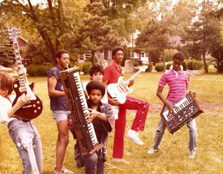 Vince Lawrence's first group, Z Factor, photographed in summer 1982 in a park near his mother's home, with future house pioneer Jesse Saunders second from left and Lawrence at far right - VINCE LAWRENCE