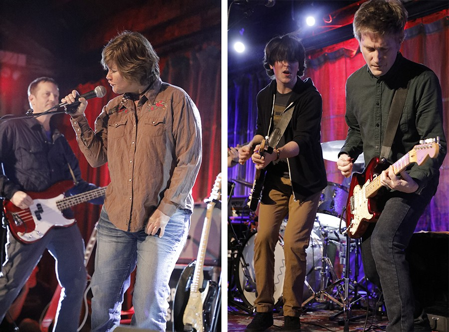 Left: Chris Kean and Tracey Bradford during a brief partial Verböten reunion at SPACE, more than 36 years after the band broke up. Right: Jason Narducy (right) shares the stage at SPACE with Kieran McCabe, who plays him in Verböten. - COURTESY PITCH PERFECT PR