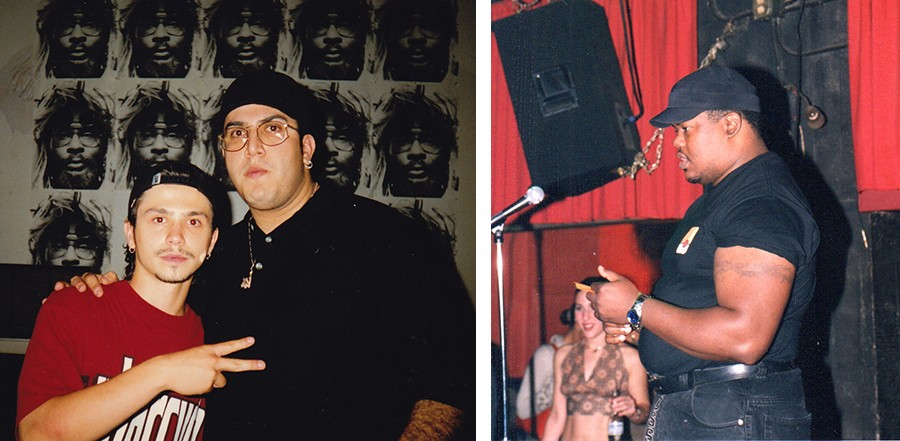 """Left: A late-90s shot of """"Big Larry"""" Mondragon (right) with Freddy Rodriguez, a member of Children of Reality and EONs who's now best known as an actor. Right: Blue Groove Lounge security staffer Bruno the Enforcer. - BOTH PHOTOS COURTESY JESSE DE LA PEÑA"""