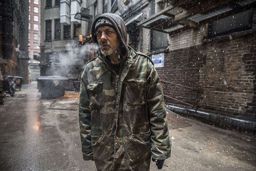 Jimmy in an alley during a snowstorm; March 22, 2020 - LLOYD DEGRANE