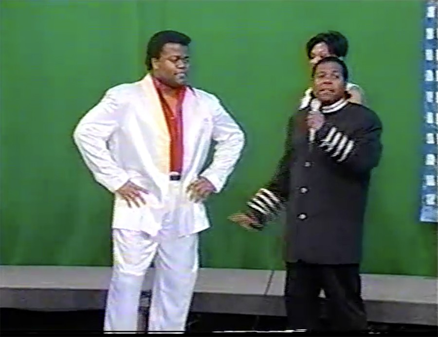 """Melvin """"the Alexander"""" Dunlap and Andrew Kitchen in 1996, on the Attack of the Boogie set at CAN TV - COURTESY ANDREW KITCHEN AND MELVIN DUNLAP"""
