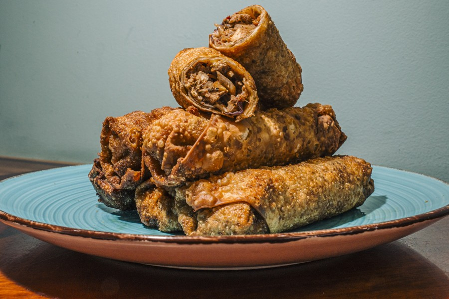 The OG jerk chicken egg roll, unofficial snack of the west side - JEFF MARINI FOR CHICAGO READER