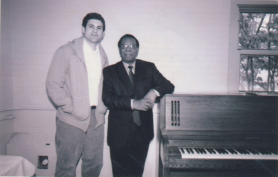 Matthew Rivera of Bless the Mad (left) circa 2007 with pianist Ken Chaney of the Awakening, in Jackson Park where Chaney was teaching lessons - DAVID AUJERO