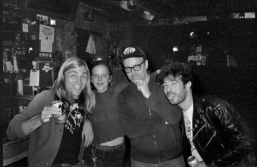 Alejandro at the Empty Bottle (far right) with Permanent Records co-owner Lance Barresi, Bottle and Bite staffer Ash Dye, and Trouble in Mind cofounder Bill Roe - BOBBY BURG