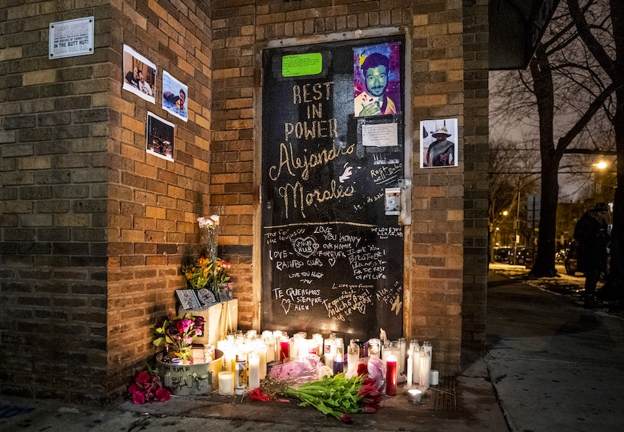 The memorial for Alejandro Morales outside the Empty Bottle - ALISON GREEN