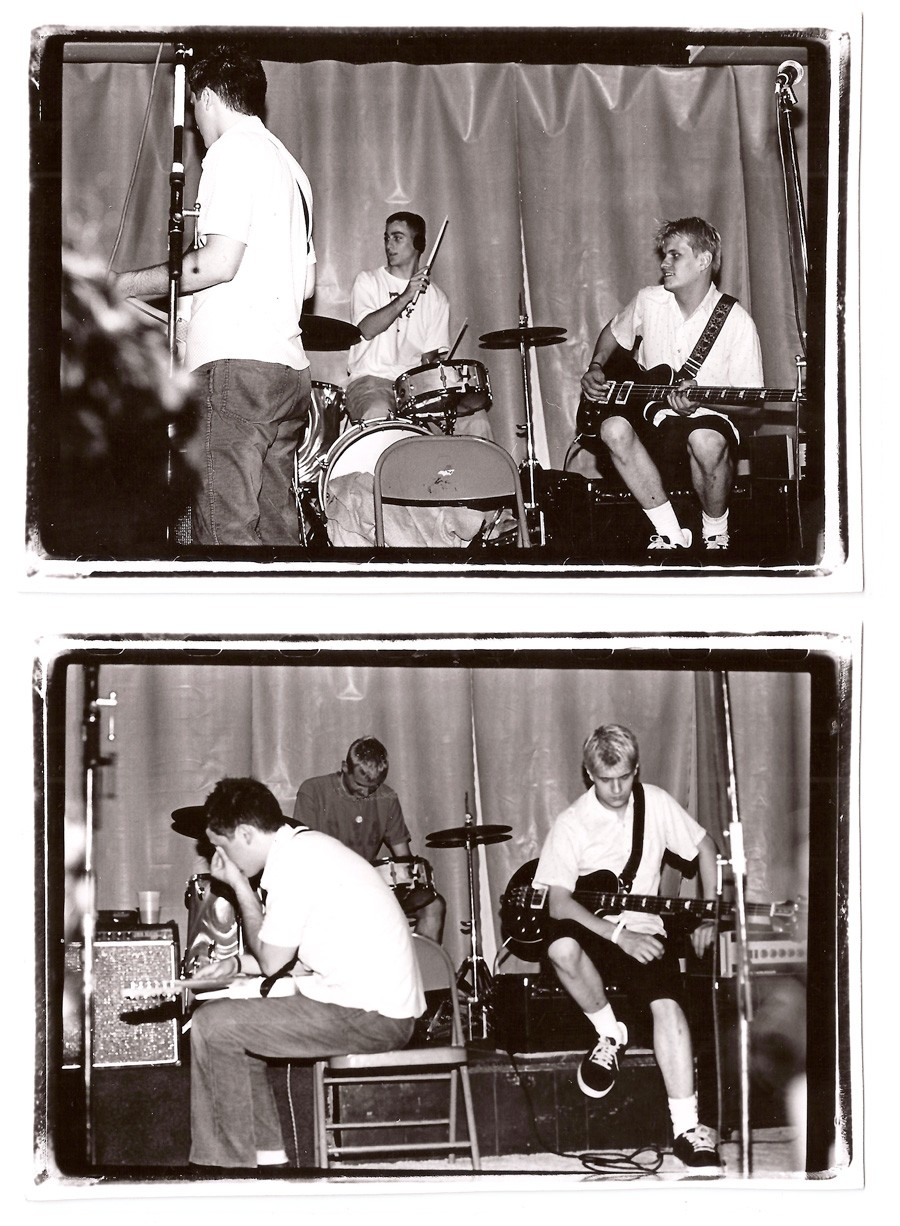 Joan of Arc play live, probably in summer 1996. Top: Tim Kinsella, Mike Kinsella, and Erik Bocek. Bottom: Tim Kinsella, Sam Zurick, and Erik Bocek. - COURTESY THE ARTIST