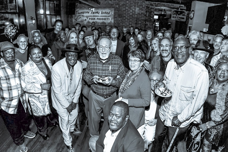 Bob Koester's 80th birthday in 2012: Susan Koester is to his right, Bob Jr. behind him, and Bob Stroger and Deitra Farr to his left. Quintus McCormick is crouched in front, Zora Young is at far right, and all the other famous people's names won't fit here. - MICHAEL JACKSON