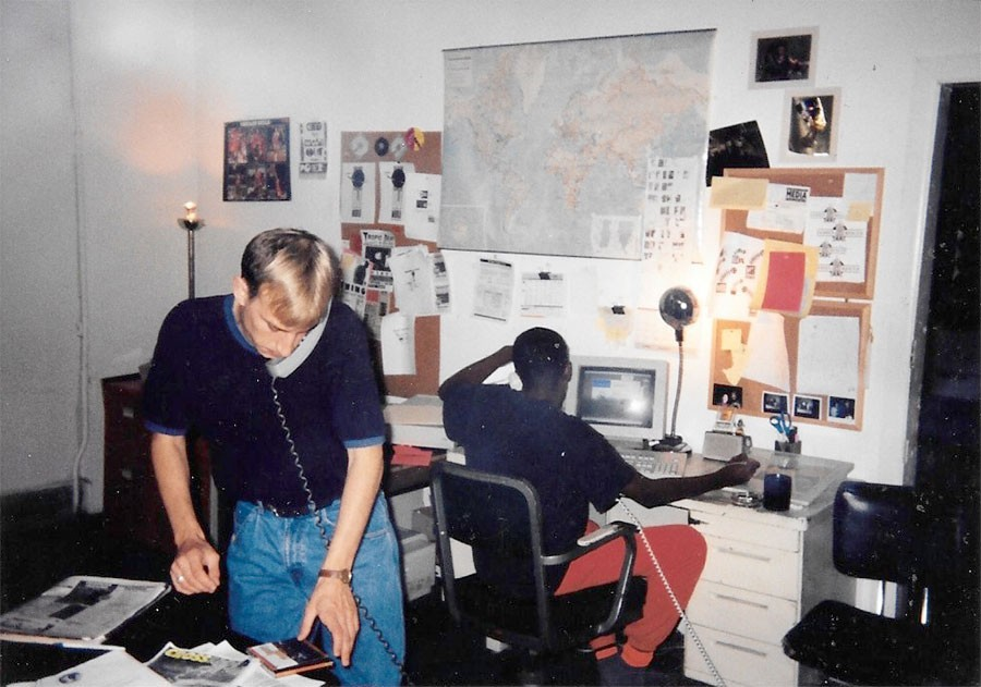 Terry Martin and Robert Ford in 1992 at Thing headquarters, housed in the apartment Ford shared with Trent Adkins. These offices were also home to Crossfade during its short life. - COURTESY TERRY MARTIN