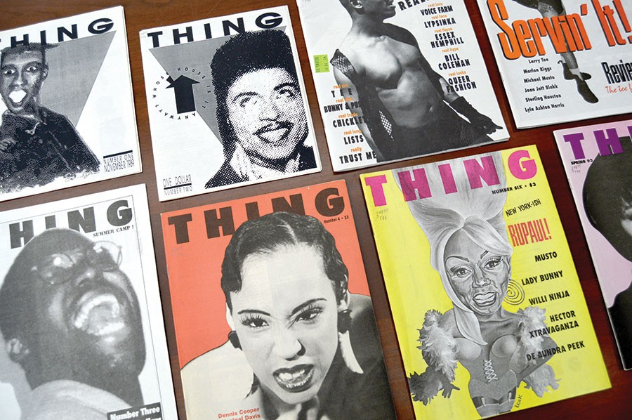 Thing published ten issues between November 1989 and summer 1993. Zine cofounder Lawrence Warren appears on the cover of the third issue, pictured here at lower left. - AMBER HUFF