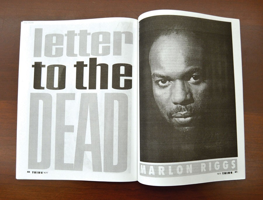 """The opening pages of Marlon Riggs's """"Letter to the Dead,"""" from the fall 1992 issue of Thing - AMBER HUFF"""