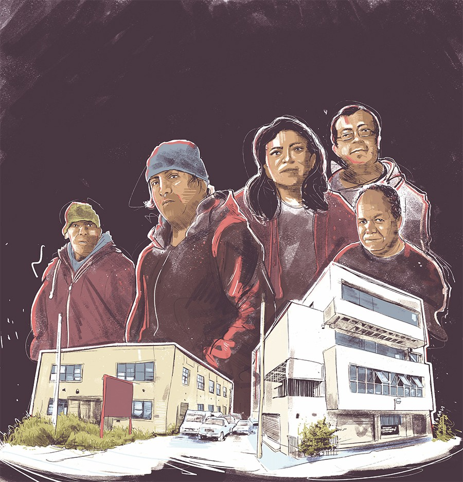 From left: Juan Herrera and Marcos Hernández with La Casa del Inmigrante; Martha García, Kiko, and the late Tobi with the building that houses La Biblioteca Social Reconstruir - ILLUSTRATION BY JOHNGARRISON FOR CHICAGO READER