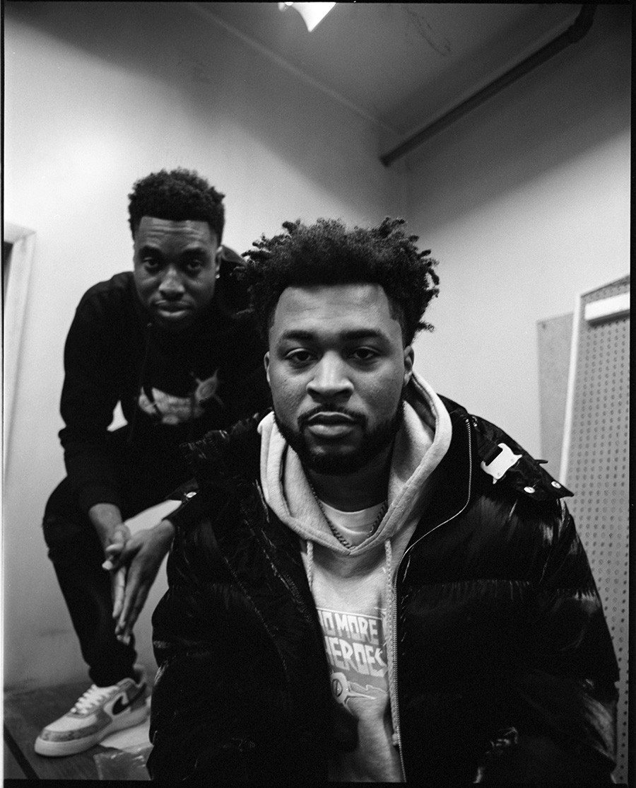 """Azeez """"Laka"""" Alaka and Brandon Holmes in their future office at No More Heroes headquarters in Little Village - TARIYAWN KNIGHTEN FOR CHICAGO READER"""