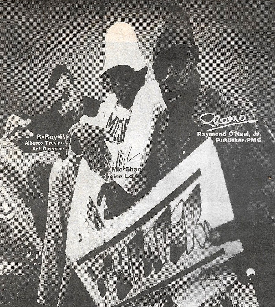 BboyB, Mic Shane, and Raymond O'Neal pictured on the FlyPaper staff page from a 1994 double issue - SCANNED BY LEOR GALIL