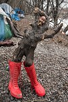 <i>Dolly the Drifter</i>, one of Elmo's sculptures made from Chicago River driftwood and other discarded items. Elmo has been traveling the country and living outside since leaving his home in Kentucky at age 11.