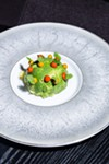 Sweet blue crabmeat, shaved avocado, covered with mango and red-pepper puree
