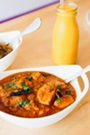 Chicken chettinad and mango lassi