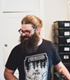 Scorched Tundra organizer Alexi Front. His T-shirt is from Swedish doom trio Monolord, who played the festival's Chicago debut in 2016.