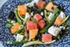 Salad of honeydew and watermelon tossed with string and shell beans, black lentils, and feta