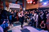 """Salonathon founder and artistic director Jane Beachy concludes the performances at the last Salonathon at Beauty Bar Monday night. """"It's not a death,"""" she said in an interview, """"it's for Salonathon's health and our own, and we're excited about what's next."""""""