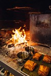 The hearth provides a char on much of Etta's menu.