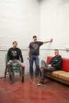 John Lombardo, Steve Polutnik, and Andy Weber of Smashed Plastic in the plant's listening room and bar