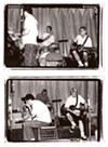 Joan of Arc play live, probably in summer 1996. Top: Tim Kinsella, Mike Kinsella, and Erik Bocek. Bottom: Tim Kinsella, Sam Zurick, and Erik Bocek.