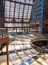 The empty atrium of Helmut Jahn's James R. Thompson Center