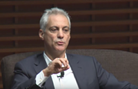 Rahm tells a few Trump-like whoppers in his Stanford talk