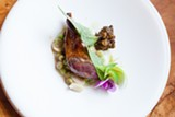 Squab, pineapple sage leaves, fresh and fermented pea miso - DANIELLE A. SCRUGGS