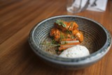 Sweetbreads smothered in buffalo sauce are served alongside a cooling blob of ranch stuff. - DANIELLE A. SCRUGGS
