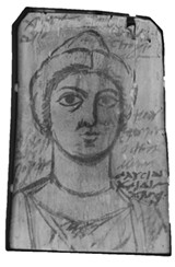 Mummy portrait painter's instruction panel, from Tebtunis, Faiyum - COURTESY OF THE PHOEBE A. HEARST MUSEUM OF ANTHROPOLOGY AND THE REGENTS OF THE UNIVERSITY OF CALIFORNIA
