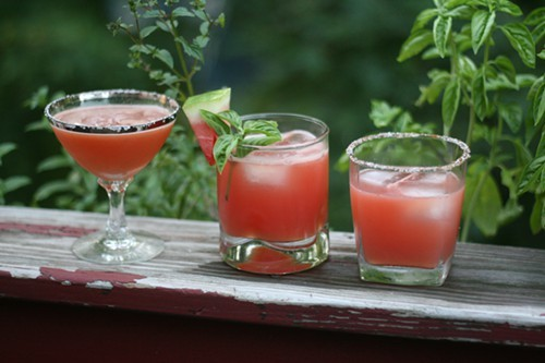 Watermelon cocktails: left to right, the Kentucky Devil, Red Lady, and In-Sandiary