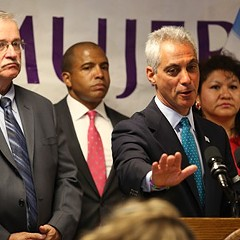 Whoa--not so fast. Mayor Rahm Emanuel says he supports hiking the minimum wage, but not right now.