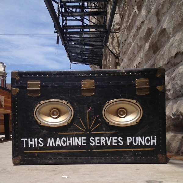 Will Duncan converted an old steamer trunk into a punch-dispensing boom box.