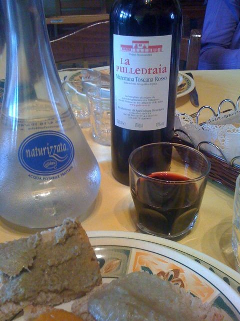 The result of hard work: wine from the vineyard and crostini