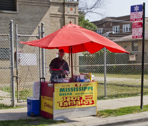 Yoland Cannon's tamale stand has been planted in its current location for about five years, right in front of a ComEd substation, almost directly across from his house.