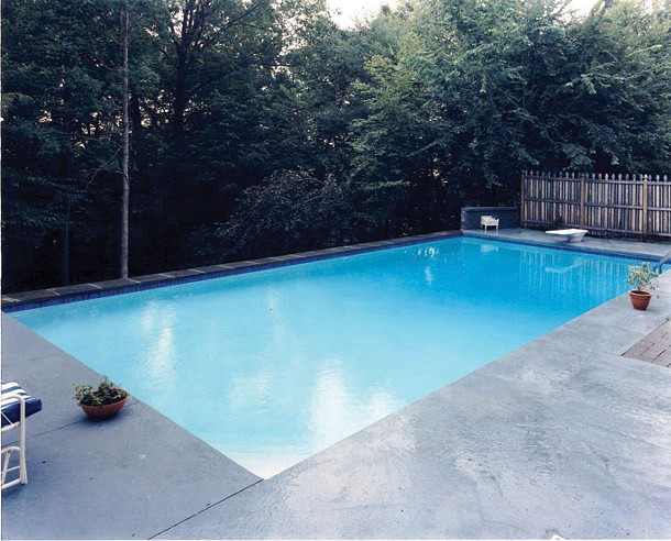 A 20' x 40' Nejame pool with the back end elevated to accommodate a steep pitch in the yard.