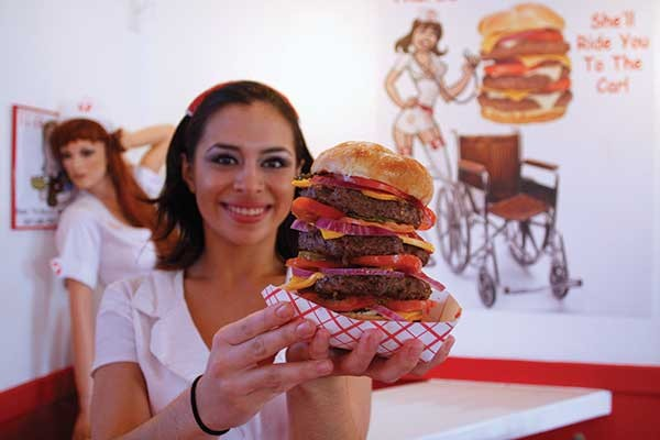 A burger from Las Vegas's Heart Attack Grill.
